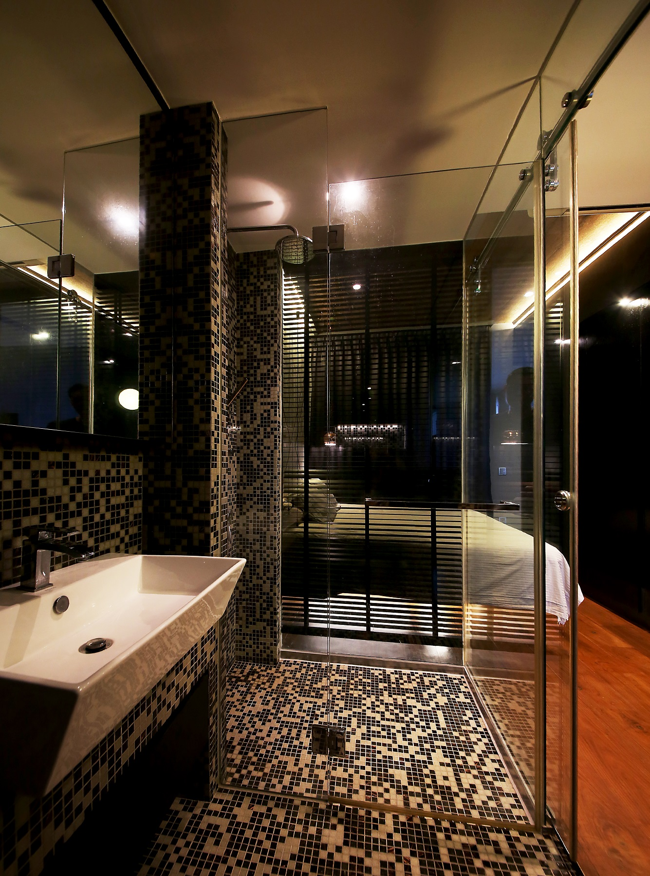 open concept black and white bathroom