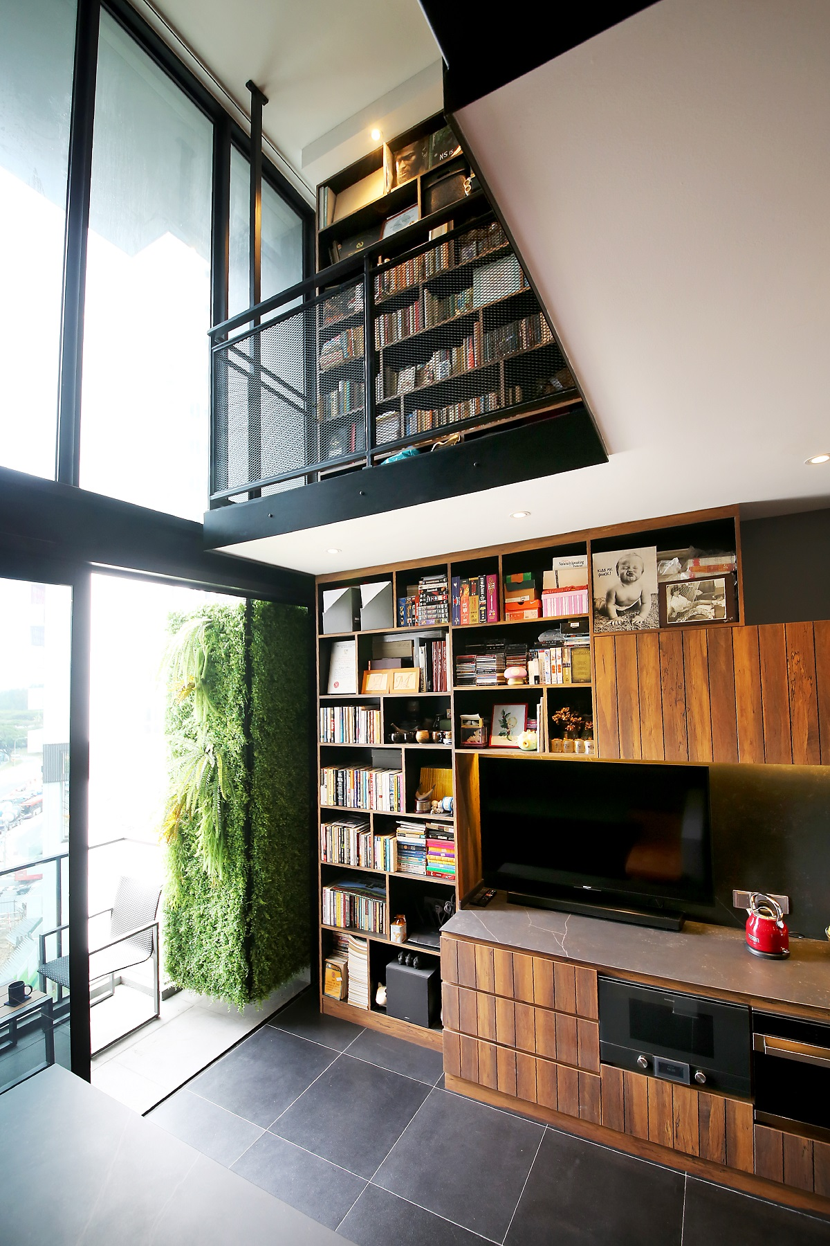 view of bookcase living space